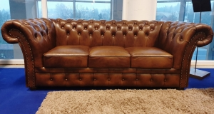 Chesterfield meble , Royal sofa 3 skóra naturalna